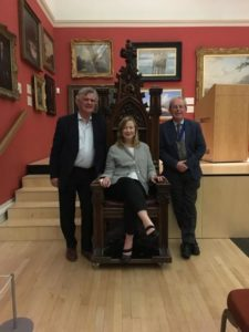 Dr Emma Parker (seated), Professor Nigel Wood (vote of thanks) and Prof. Sir Kent Woods (President)